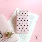 【スマホハードケース】パウダーピンク 黒いハートのスマホケースiPhone Xperia AQUOS Galaxy etc 多機種対応