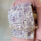 正絹 古代紫の横段更紗文様袋帯 リバーシブル