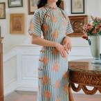 チャイナ風ドレス ロングピース 大きいサイズ S M L パーティー 二次会 普段着 結婚式 レトロ 清新 気質良い スタンドネック 半袖 ブルー 青い シフォン 花柄 ストライプ