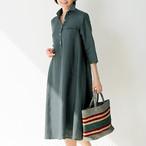 <レディス>浜松産リネンのシャツワンピース七分袖