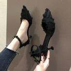 【shoes】ポインテッドトゥタッセルストラップ付きハイヒールパンプス