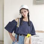 【新作10%off】open shoulder strap shirts 2529