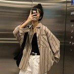 【tops】長袖シャツストライプ配色韓国風シングルブレスカーディガン