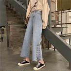 【大きいサイズ】【韓国レディースファッション】 送料無料  サイドスリット ボタン ワイド フレア デニム スタイルアップ ジーパン カジュアル パンツ ズボン 5224