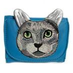 ねこミニ財布 gray cat/LIGHT BLUE