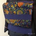 綿ウール 瑠璃紺の民芸風京袋帯