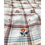 インド製チェック生地フラワー刺繍入りファブリック(1m)