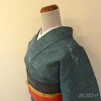 正絹紬 錆浅葱色の小紋 単衣