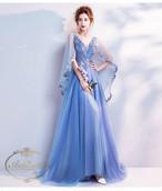 ゴージャス パーティー blue ドレス 輝かしい イブニングドレス フォーマルドレス 授賞式 発表会 舞台 演奏会 マーメイド ロングトレーン ドレス
