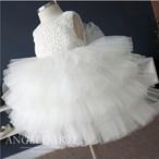 8488子供ドレス キッズ ベビー ジュニア 女の子ドレス フォーマルドレス  レース 白色ホワイト