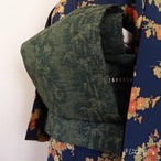 正絹紬 深い緑に松楓の織り模様のなごや