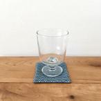 手織り藍染リネンコースター(Coaster Flower Linen Indigo blue)