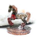 馬型 オブシディアン&ガーネット オルゴナイト 置物 財運をもたらす馬モチーフ