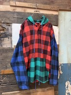 90's block check crazy pattarn hooded pull over shirt