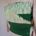 正絹紬 緑に樹木模様のなごや
