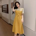 【dress】エレガント気質満々ストライプ柄お流行り重ね着風ワンピース 22493283