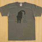 Tシャツ「黒猫」アーミーグリーン