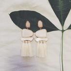 Pierce♡ストーン&タッセルドロップピアス ホワイト