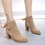 【shoes】流行中のアイテムリボン飾りチェック柄ブーツ24977668