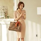 【dress】フォーマルワンピースvネック無地合わせやすいドレス