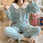 【パジャマ】もこもこ裏起毛暖かい無地プルオーバースウィートパジャマ25635356
