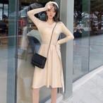 【dress】レトロニットワンピースvネック着やせボタンレディースワンピース