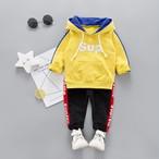 【子供服】運動風コットン長袖シンプルフード付きプルオーバーレギュラー男の子アルファベット春·秋·2点セット22874352