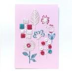 紙刺繍キット『トリコロールフラワーズ』ポストカード