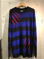 RAKUGAKI TSUMEATO SWEATER  Black×Blue
