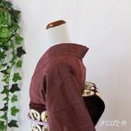 正絹紬 紅鳶色の小紋 袷
