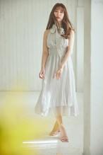 Pleated Chiffon Ribbon Midi Dress