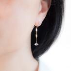 ハーキマーダイヤモンドの飾りチェーンピアス~14KGF