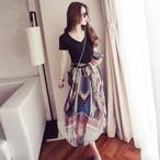 【dress】不規則プリントファッション切り替えVネックワンピース