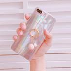 オーロラ 偏光 レインボー バンカーリング iPhone シェルカバー ケース ピンク ★ iPhone 6 / 6s / 6Plus / 6sPlus / 7 / 7Plus ★ [NW248]