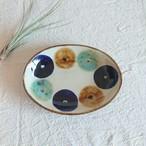 ◆NEW◆やちむん エドメ陶房 7寸オーバル皿 丸紋三彩