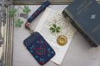 【卒入学祝い】刺繍のパスケース&ストラップセット・ネイビー×小花