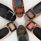予約注文商品 レオパードプレートスエードフラットシューズ フラットシューズ 韓国ファッション