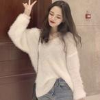 【tops】柔らかい感じvネックファッション感満々セーター 23660023