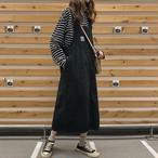 【dress】若見えデニムお流行りワストレートサスペンダースカート 23514544