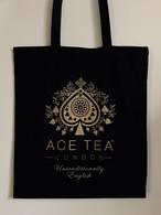 コットン トートバッグ(ブラック&ゴールド)ACE TEA LONDON