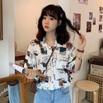 【tops】カジュアルプリント配色シャツ20496175