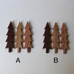 木の壁掛けオブジェ 3つセット