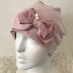 パールとレースリボンのケア帽子 ピンク④