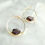 14kgf*宝石質AAA Garnet Circle stud pierced earring