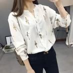 オフィス デート シャツ ブラウス バレリーナ柄 Vネック シャツ 長袖 大きいサイズ 海外
