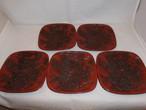 堆朱銘銘皿(5客)Urushi lacquer a case for an ink stone (five plates)