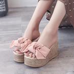 【shoes】スリッパファッションスウィートリボンウェッジヒール