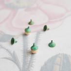 ヴィンテージ シンプルなグリーンのビーズキャップ(6コ)