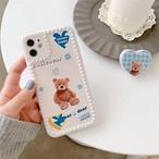 グリップ付き Bear cute blue iphone case