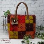 織りモチーフのカラフルバッグ(レッド系)
